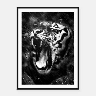 Thumbnail image of Black & White Beautiful Tiger Head Wildlife Framed poster, Live Heroes