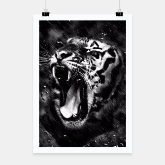 Thumbnail image of Black & White Beautiful Tiger Head Wildlife Poster, Live Heroes