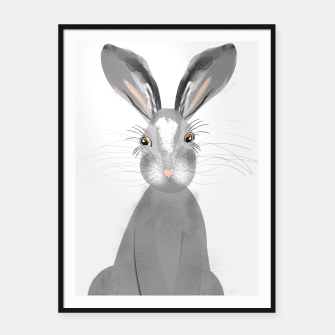 Thumbnail image of Sweet Whimsy Grey Hare Framed poster, Live Heroes
