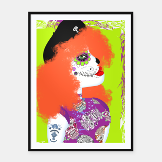 Thumbnail image of Day Of The Dead Sugar Skull Masked Face Framed poster, Live Heroes