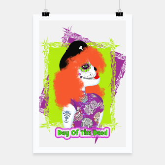 Thumbnail image of Day Of The Dead  Funky Red Head Poster, Live Heroes