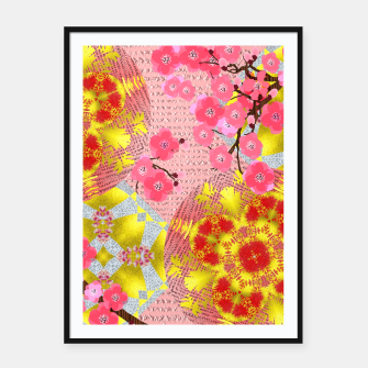 Thumbnail image of Oriental Delight Pink Cherry Blossom Print Framed poster, Live Heroes