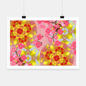 Thumbnail image of Oriental Delight Pink Cherry Blossom Print Poster, Live Heroes