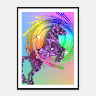 Thumbnail image of /Ombre Rainbow Fantasy Unicorn Framed poster, Live Heroes
