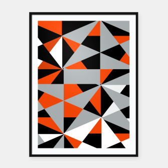 Thumbnail image of Funky Geometric Orange Grey Mixed Print Framed poster, Live Heroes