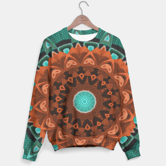 Thumbnail image of Floral Kaleidoscope Teal Orange Brown   Sweater, Live Heroes