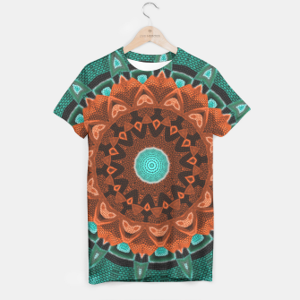 Thumbnail image of Floral Kaleidoscope Teal Orange Brown   T-shirt, Live Heroes