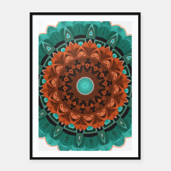 Thumbnail image of Floral Kaleidoscope Teal Orange Brown   Framed poster, Live Heroes