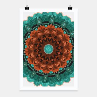 Thumbnail image of Floral Kaleidoscope Teal Orange Brown   Poster, Live Heroes