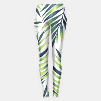 Thumbnail image of Tropical leaves. White pattern Leggings, Live Heroes
