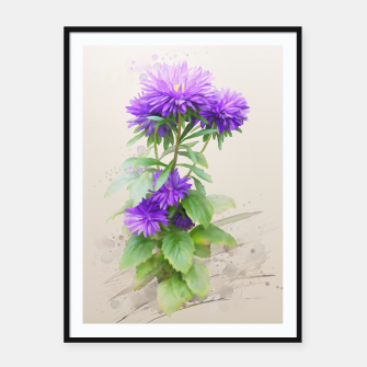 Thumbnail image of Purple Flowers. watercolors Framed poster, Live Heroes
