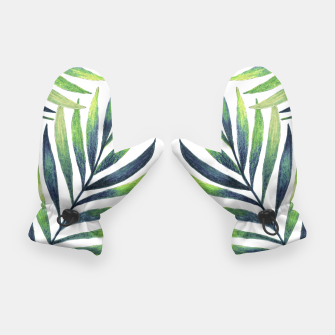 Thumbnail image of Tropical leaves. White pattern Gloves, Live Heroes