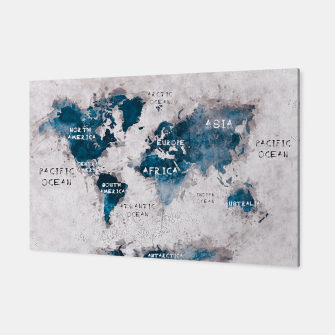 Miniatur world map blue and white Canvas, Live Heroes