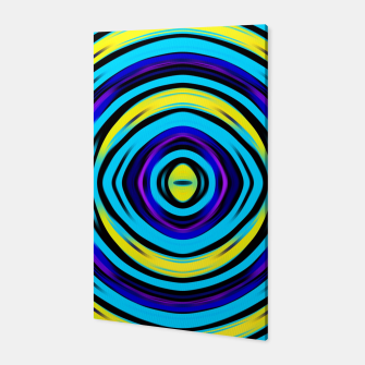 Miniatur psychedelic circle pattern abstract in blue yellow Canvas, Live Heroes