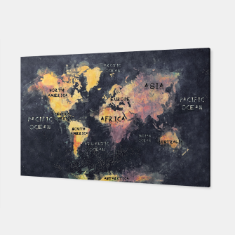 Miniatur world map black and yellow Canvas, Live Heroes