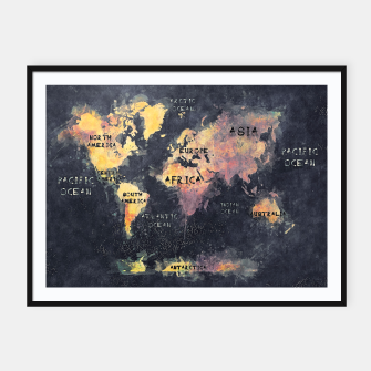 Thumbnail image of world map black and yellow Plakaty w ramie , Live Heroes