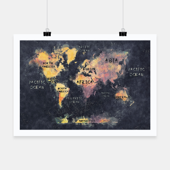 Thumbnail image of world map black and yellow Plakat, Live Heroes