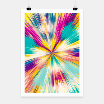 Thumbnail image of psychedelic geometric abstract pattern in yellow blue pink Poster, Live Heroes