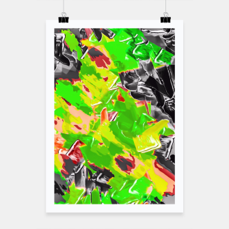 Thumbnail image of green yellow brown black graffiti painting texture abstract background Poster, Live Heroes