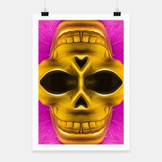 Thumbnail image of golden skull with pink background Poster, Live Heroes