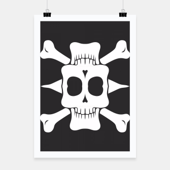 Thumbnail image of square skull head and bones in black and white Poster, Live Heroes