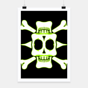 Thumbnail image of green and white square skull and bones with black background Poster, Live Heroes