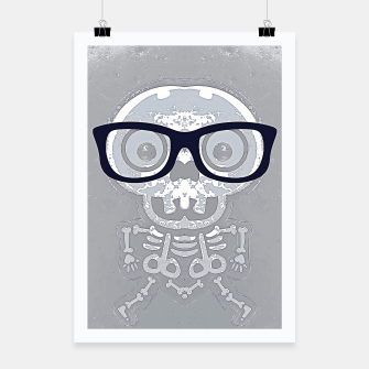 Thumbnail image of grey skull with black glasses and grey background Poster, Live Heroes