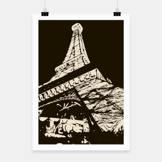 Thumbnail image of drawing Eiffel Tower, Paris in black and white Poster, Live Heroes