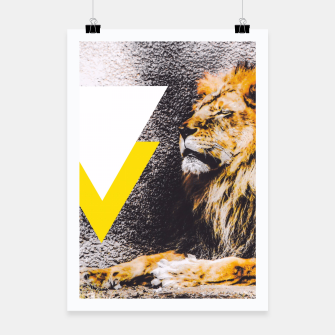 Thumbnail image of lion with white and yellow triangle  Poster, Live Heroes