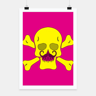 Thumbnail image of yellow skull with mustache and pink background Poster, Live Heroes
