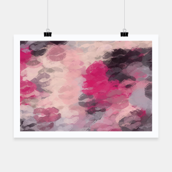 Thumbnail image of pink and black lipstick kisses background Poster, Live Heroes