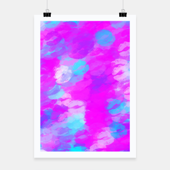 Thumbnail image of pink and blue lipstick kisses background Poster, Live Heroes