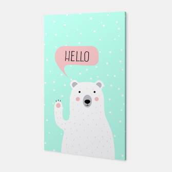 Thumbnail image of Cute Winter Polar Bear says Hello-  Illustration - DESIGN -  Canvas, Live Heroes