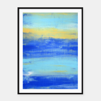 Thumbnail image of Life is Better at the Beach - Blue, Yellow, Turquoise - ABSTRACT ART - Framed poster, Live Heroes