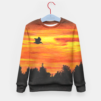 Thumbnail image of Sunset with bird Kid's Sweater, Live Heroes
