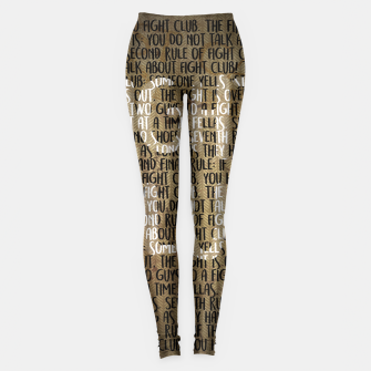 Thumbnail image of Fight Club - Rules Minimal Typo Poster Leggings, Live Heroes