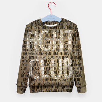 Thumbnail image of Fight Club - Rules Minimal Typo Poster Kid's Sweater, Live Heroes