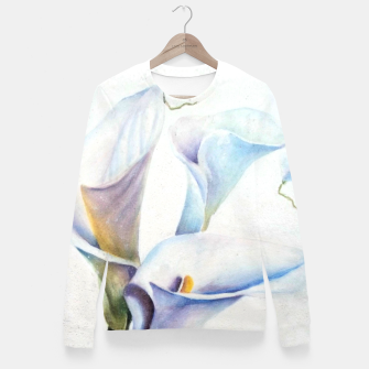 Thumbnail image of THREE WHITE CALLA LILIES Fitted Waist Sweater, Live Heroes
