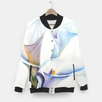 Thumbnail image of THREE WHITE CALLA LILIES Baseball Jacket, Live Heroes