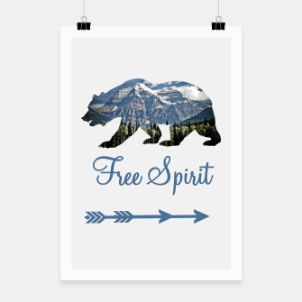 Thumbnail image of Free Spirit Rocky Mountains Big Bear Poster, Live Heroes