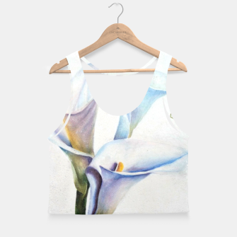 Thumbnail image of THREE WHITE CALLA LILIES Crop Top, Live Heroes