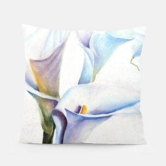 Thumbnail image of THREE WHITE CALLA LILIES Pillow, Live Heroes