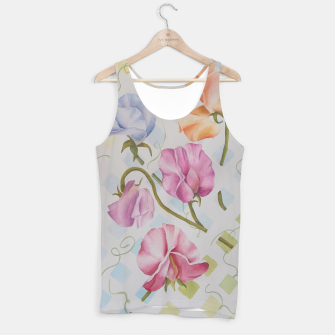 Thumbnail image of PASTEL SWEETPEAS ON A WHITE LATTICE Tank Top, Live Heroes