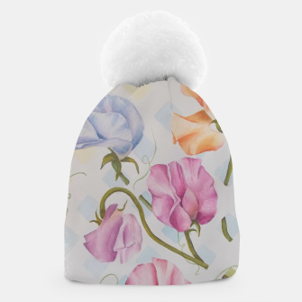 Thumbnail image of PASTEL SWEETPEAS ON A WHITE LATTICE Beanie, Live Heroes