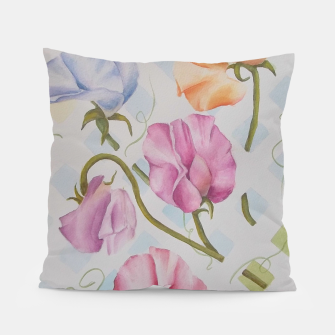 Thumbnail image of PASTEL SWEETPEAS ON A WHITE LATTICE Pillow, Live Heroes