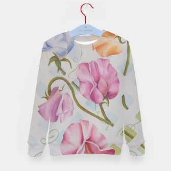 Thumbnail image of PASTEL SWEETPEAS ON A WHITE LATTICE Kid's Sweater, Live Heroes