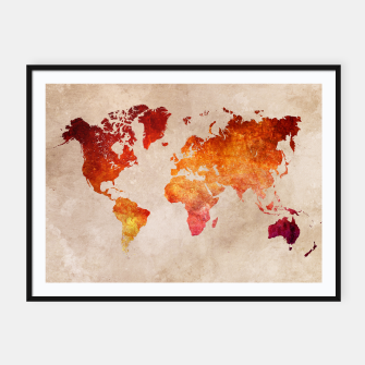 Thumbnail image of world map red Plakaty w ramie , Live Heroes