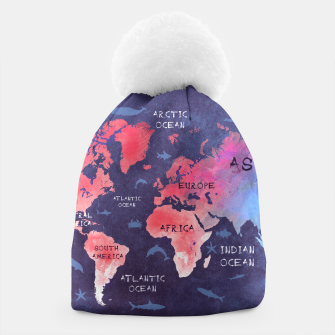 world map blue red Czapka obraz miniatury