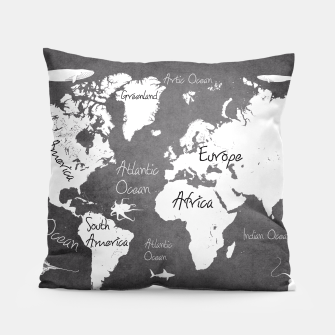 Thumbnail image of world map black and white Poduszka, Live Heroes