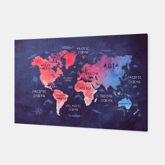 world map blue red Canvas obraz miniatury